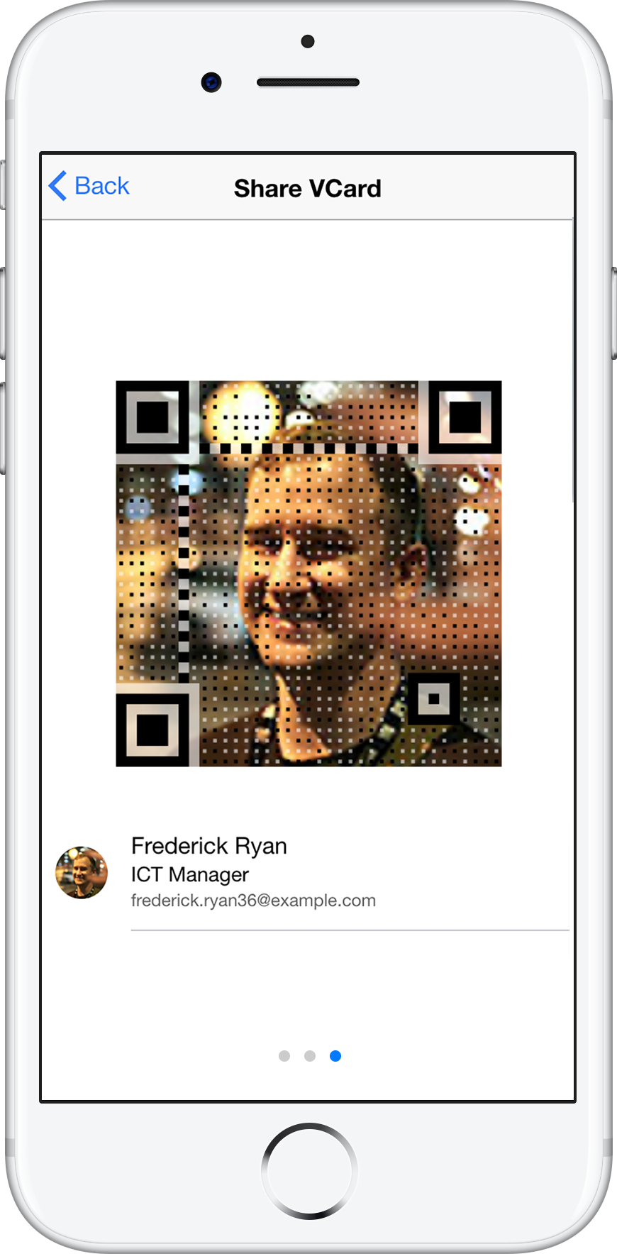 Screenshot CloudVCard QR Code